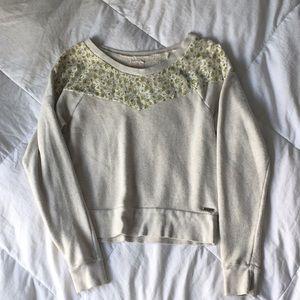 Rosy Cream Floral Lace Sweatshirt